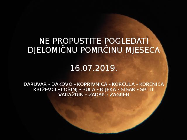 Ne propustite pogledati djelomičnu pomrčinu Mjeseca 16-7-2019