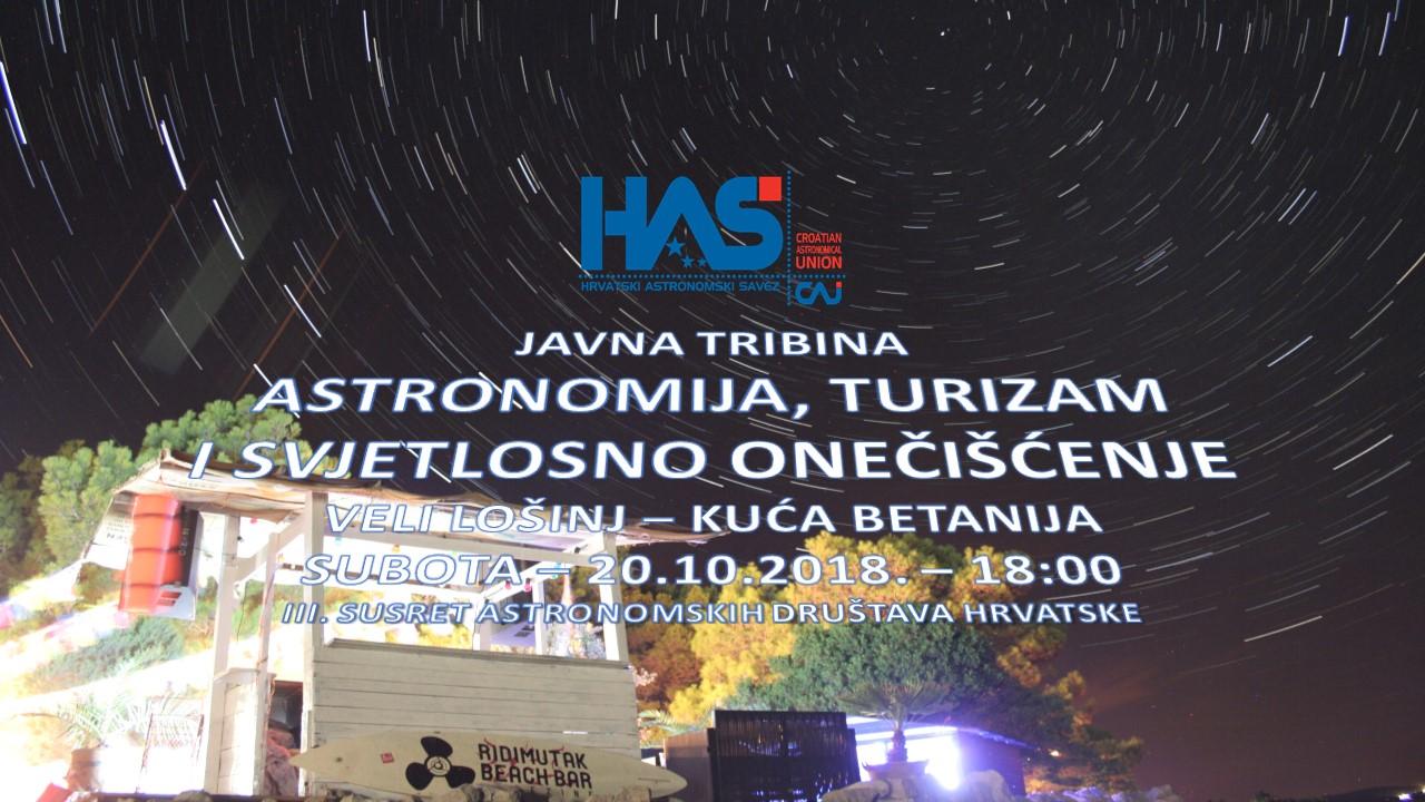 Veli Lošinj (20.10.2018.) - Javna tribina: Astronomija, turizam i svjetlosno onečišćenje